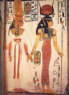 Image of the tomb of Nefertari in which Isis carries a menat necklace superimposed on a necklace. The characteristic counterweight falls back to the goddess. Dynasty XIX.