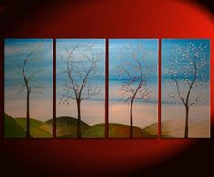 60x30 Large CUSTOM Tree Painting Four Seasons by NathalieVan for $285.00