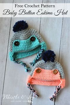 crochet baby Button Eskimo Baby Hat - This cozy hat is a cute and fun baby accessory for winter! {Free pattern by Whistle and ivy} - Baby Crochet Trapper Hat - Free Crochet Pattern Crochet Kids Hats, Crochet Baby Clothes, Crochet For Boys, Crochet Beanie, Crochet Crafts, Crochet Projects, Free Crochet, Knit Crochet, Crochet Baby Boy Hat