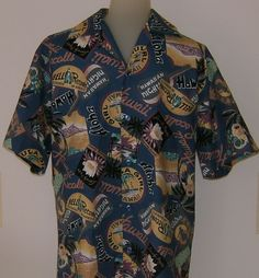 Vintage Hilo Hatti Hawaiian Shirt 1980s Aloha Hula Bell Records Hawaii Size S #HiloHattie #Hawaiian
