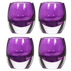 Hosley's Set of 4 Purple Chunky Glass 3' High, Tea Light Holders - Jumbo Pack. Ideal for Weddings, Parties *** To view further for this item, visit the image link. (This is an affiliate link) #CandlesandHolders