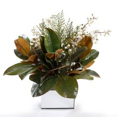 Creators of exquisite, lifelike flowers and greenery for everyday living. Winter Floral Arrangements, Christmas Flower Arrangements, Artificial Floral Arrangements, Magnolia Centerpiece, Magnolia Home Decor, Winter Centerpieces, Nylon Flowers, Winter Plants, Magnolia Leaves