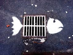 ¤ Street Art. Fish with a wink