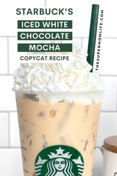 This Starbucks iced white chocolate mocha copycat recipe is the perfect blend of espresso, milk and white chocolate that you can make at home. Best Iced Mocha Recipe, Starbucks Iced White Chocolate Mocha Recipe, Starbucks White Mocha Recipe, Starbucks Iced Mocha Recipe, Iced Mocha Coffee, Iced Starbucks Drinks, Starbucks Recipes, Mocha Chocolate, Starbucks Coffee