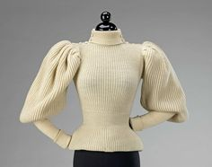 Sweater 1895 American (probably). Wool. This very early sportswear sweater combines the aesthetics of fashionable dress through its large gigot sleeves and overall silhouette with the informal sportiness inherent in any knit fabric. Casual wear, such as this, is rare in museum collections because of the nature of its use and the intrinsic value people placed on more formal attire.   THE MET
