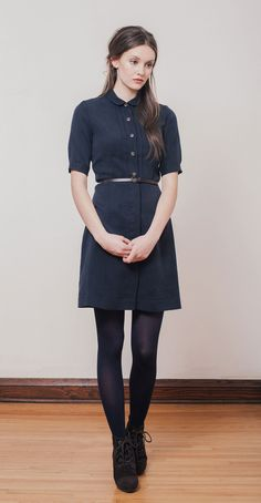 LAUREN Navy: Shirt dress in Tencel with small rounded collar. Soft and sustainable fabric made in Japan. Betina Lou Fall-Winter 2014-15.
