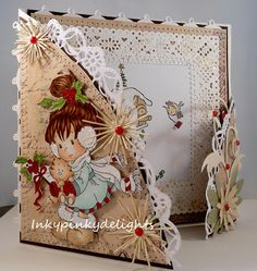 Sylvia Zet image and Cheery Lynn dies Stamped Christmas Cards, Homemade Christmas Cards, Xmas Cards, Fun Cards, Handmade Card Making, Handmade Birthday Cards, Fancy Fold Cards, Folded Cards, Whimsy Stamps