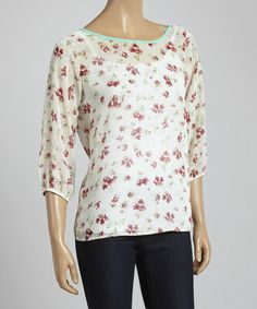 Look what I found on #zulily! Ivory & Rose Floral Three-Quarter Sleeve Top by Hug #zulilyfinds
