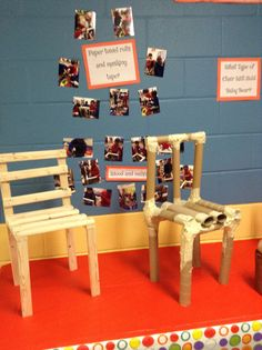 Engineering-wood/nails and paper towel roll/tape chairs