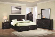 Elijah Transitional Black Wood Leatherette Master Bedroom Set