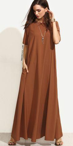 Brown Short Sleeve Zipper Back Maxi Dress