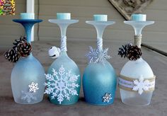 Winter Wonderland Christmas Wine Glasses (Candle Holders) - made with dollar store wine glasses and glitter blast spray paint store wine glass crafts Winter Wonderland Wine Glasses Candle Holders - The Keeper of the Cheerios Winter Wonderland Decorations, Winter Wonderland Christmas, Wine Glass Crafts, Wine Bottle Crafts, Wine Bottles, Holiday Crafts, Christmas Crafts, Christmas Ornaments, Blue Christmas