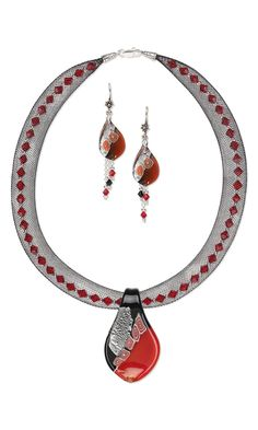Jewelry Design - Single-Strand Necklace and Earring Set with Lampworked Glass Drops and Focal, Swarovski Crystal Beads and Nylon Mesh - Fire Mountain Gems and Beads