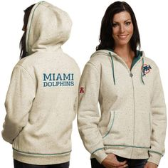 NFL Pro Line Miami Dolphins Historic Logo Women's Flecked Sherpa Lined Full Zip Hoodie - Cream - $56.99