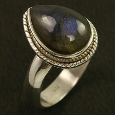 New Collection Ring Size US 8 Natural LABRADORITE Gemstone 925 Sterling Silver #Unbranded