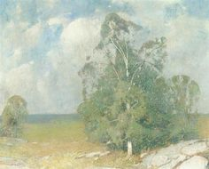 """Trees in Full Summer,"" Emil Carlsen, oil on canvas, private collection."