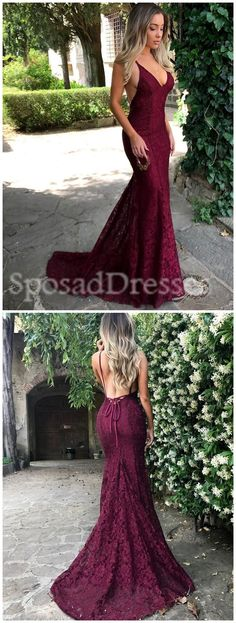 2018 Sexy Backless Red Lace Mermaid Long Custom Evening Prom Dresses, 17396