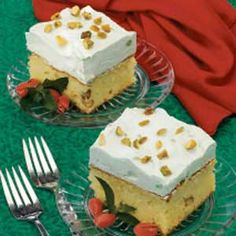Pistachio cake.  Easy fix and really tasty.   A great ST Patty's dessert with the green frosting!