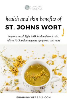 St. Johns Wort has many health, mood and skin benefits that make it a great natural remedy. From naturally boosting moods, fighting mild to moderate depression and seasonal affective disorder (SAD), acting as a stress reliever, healing and soothing skin, relieving PMS and menopause symptoms, and more - this medicinal plant / herb is one to add to your holistic medicine cabinet! Read this post from Euphoric Herbals for all the benefits   uses of St. Johns Wort! Herbs For Health, Health And Wellness, Holistic Wellness, Holistic Healing, Natural Healing, Natural Skin, Holistic Medicine, Herbal Medicine, Natural Health Remedies