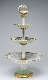 State dinner and dessert service of James K. Polk (President 1845-1849)--Dessert Stand/Made in Champroux, France, Europe c. 1846--Edouard D. Honoré, Champroux, France, 1824 - 1855--Hard paste porcelain, lead glaze, printed, enamel, and gilded decoration. 17 1/2 x 10 inches (44.5 x 25.4 cm)
