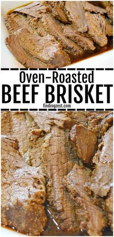 This brisket in the oven recipe is the best! You'll love how flavorful and juicy this beef brisket turns out, even though it is roasted in the oven. Cook it at at low temperature in the oven to create an amazing dinner that everyone will love! Brisket In Roaster Oven, Oven Roasted Brisket, Oven Roast Beef, Brisket In The Oven, Cooking Brisket In Oven, Roast In The Oven, Pot Roast Brisket, Beef Tenderloin, Pork Loin