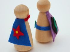 """{Wooden Peg Dolls} Adore these blank wooden peg dolls that kids can """"imagine"""" into anything they wish with a little felt. Too cool."""