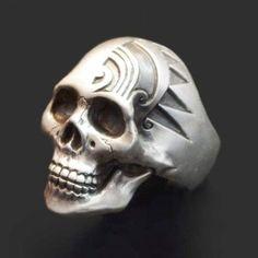 anillo de craneo, calavera, plata .925