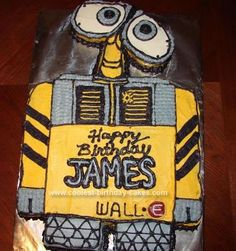 Homemade Wall-E Cake: I made this Wall E cake for a friend's child. It was very easy. I used a sheet cake and cut him out by looking at a picture.  I cut the cake in three pieces