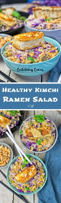My Healthy Kimchi Ramen Salad made with just 6 ingredients in 3 easy steps is a #vegan, #glutenfree taste wonder. With red cabbage, organic #Kimchi, marinated #tofu, and my special Thai Green Curry sauce. #dinner #lunch #recipe #salad