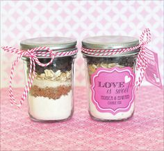 Cookie Mix Mini Mason Jar Favors ~ Easy Recipe & Tutorial | Seshalyn's Party Ideas