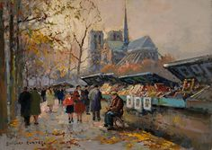Booksellers along the Seine - Edouard Cortes