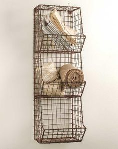 Glory & Grace Rustic Industrial Wall Mount Metal and Wire General Store Multi-Bin Storage Baskets Glory & Grace Wire Wall Basket, Baskets On Wall, Wire Baskets, Hanging Baskets, Primitive Bathrooms, Primitive Kitchen, Primitive Decor, Country Bathrooms, Country Primitive