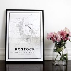 Map poster of Rostock. Print size 50 x 70 cm. Custom black and white map posters online. Mapiful.com