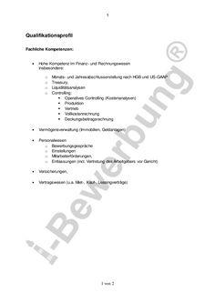 Beispiel für ein Qualifikationsprofil zur initiativbewerbung als kaufmaennischer Leiter