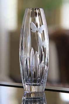 Waterford Butterfly Bud Vase~~~Reminds me of Our Wedding Day when we did a Butterfly Release,all of our guests were given a Butterfly and it was Beautiful Waterford Crystal, Crystal Glassware, Crystal Vase, Cut Glass, Glass Art, Cristal Art, Bottle Vase, Bottles, Glass Collection