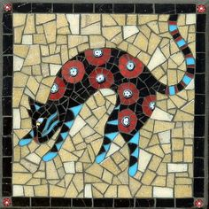 Pounce by Christine Brallier, mosaic made with stained glass, vitreous and millefiori, Mosaic Crafts, Mosaic Art, Mosaic Glass, Stained Glass, Glass Art, Mosaic Designs, Mosaic Ideas, Mosaic Supplies, Mosaic Animals
