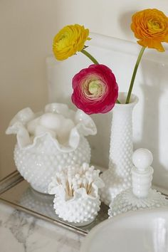 sarah richardson sarah house - love the idea of using my milk glass collection in guest bath or rooms.