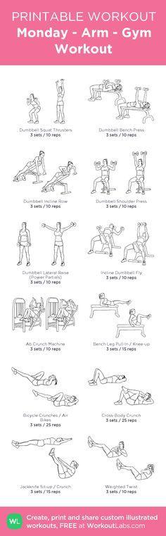 Monday - Arm - Gym Workout:my custom printable workout by @WorkoutLabs #workoutlabs #customworkout