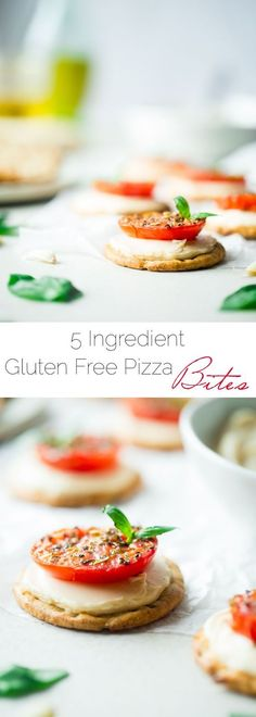 5 Ingredient Pizza Bites - These easy, healthy and gluten free pizza bites are SO simple to make and only use 5 ingredients! They're the perfect snack for after school that has all the pizza taste without all the work!   Foodfaithfitness.com   @FoodF