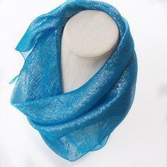 Check out Turquoise Blue Sparkly Scarf, Sky blue scarf Gift for Coworker Costume Neckerchief Bright Blue Triangle Scarves Iridescent Fabric head Scarf on blingscarves