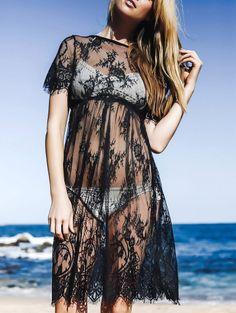 Round Neck Short Sleeve See Through Lace Dress #womensfashion #pinterestfashion #buy #fun#fashion
