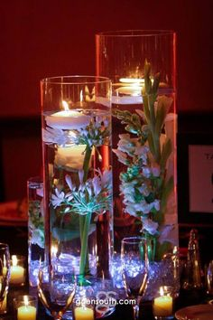 Jessica & Chris, submerged flowers with floating candles