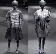 ANREALAGE 2015-2016 Fall Autumn Winter Womens Runway Catwalk Looks Designer Kunihiko Morinaga - Mode à Paris Fashion Week Mode Féminin France - Light Spotlight Dark Helmet Brain Balloon Sleeves Round Outerwear Coat Paint Splatter Houndstooth Plaid Racing Checks Chunky Knit Skirt Frock Silk Dress Ombre Fade Drapery Nipped-in Waist Blazer Pleats Organic Star Circle Patchwork Capelet Polka Dots Leaves Foliage