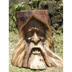 Solid Wooden Ornate Tree Spirit Trunk Carving | Stool