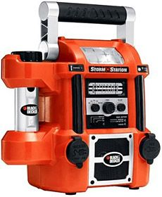 Black & Decker Storm Station: Built-in radio, cell phone charger, flashlights and power source