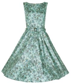 Beautiful 50's vintage style dress made from stretch cotton fabric. Pretty coloured (red, blue, yellow & green) floral detail. Fitted bodice and lightly gathered skirt. Matching adjustable belt to clench in waist. Invisible zip to side. Can be worn with a Hell bunny 50's long petticoat to increase the volume of the dress. Petticoat is NOT included with the dress but available to purchase separately in our shop. Dry clean only Material: 95% Cotton, 5% Elastane Length : Knee Length