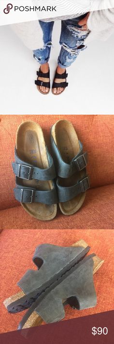 Birkenstock // Arizona Soft Footbed Sandal Slip into comfort with Birkenstock's famous Arizona sandal. Leather upper and soft, contoured cork footbed. Perfect for any season. Worn a handful of times in prestine condition. No box. No trades. EU 39/US 8. Birkenstock Shoes Sandals