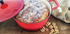 Walnut Bread, Le Creuset Dutch Oven   Da Cipriano  #walnutbread #walnutbreadrecipe #breadrecipe #lecreusetdutchoven #dacipriano #alessandrocipriano Walnut Bread Recipe, Types Of Flour, Cooling Racks, Baking Parchment, Le Creuset, Dutch Oven, Bread Recipes, Tasty, Iron Pan