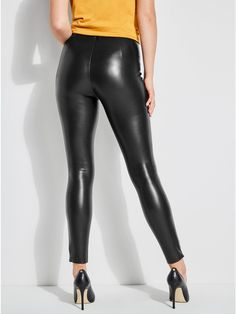 Kaliann Faux-Leather Stretch Leggings at Guess Jeggings Outfit, Leather Leggings Outfit, Faux Leather Leggings, Leggings Fashion, Leather Pants, Skin Tight Leggings, Shiny Leggings, Leggings Are Not Pants, Nylons
