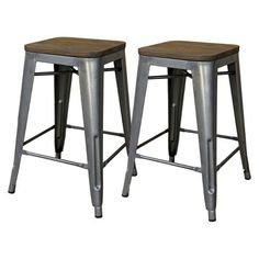 "Threshold™ Hampden 24"" Industrial Counter Stool with Wood Top (Set of 2)"